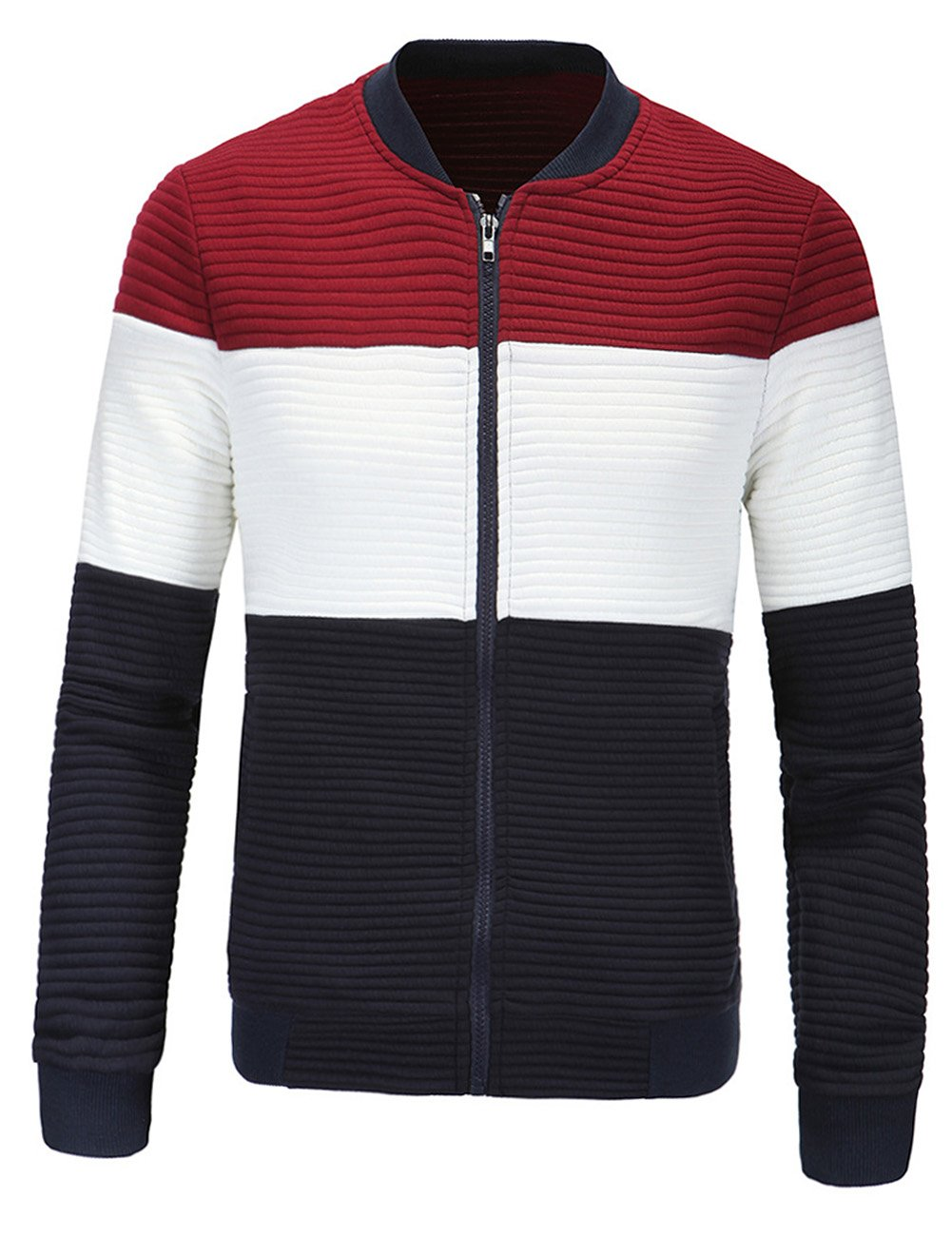 Yiwa Men's European Style Stand Collar Slim Cardigan Jacket Red XL