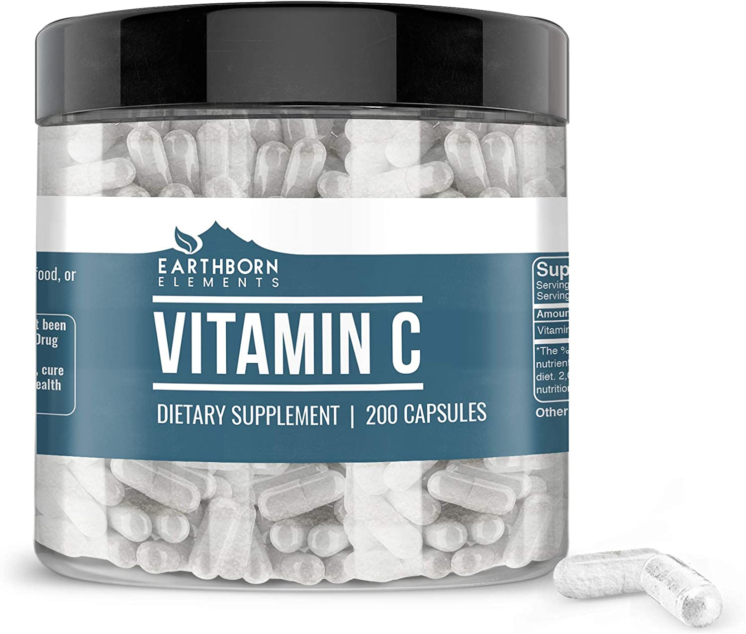 Vitamin C Capsules (200 Capsules, 680 mg) by Earthborn Elements, L-Ascorbic Acid, Antioxidant, Immune System Booster