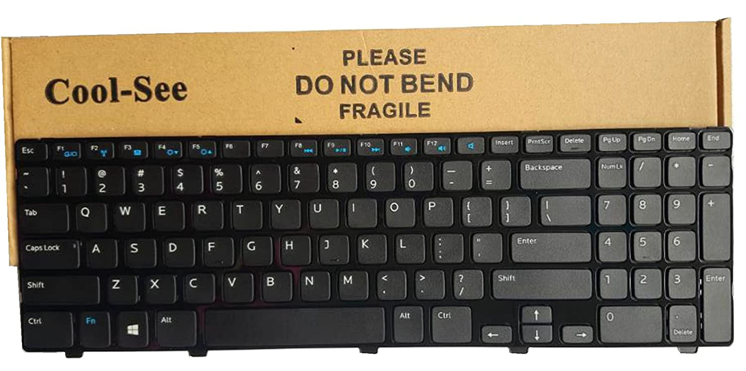 Laptop replacement keyboard for Dell Inspiron 15 3521 15R 5521 , US layout  black color