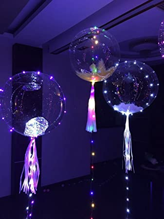 1pcs 18quot LED String Light BalloonTransparent Helium Bobo Balloons With Copper