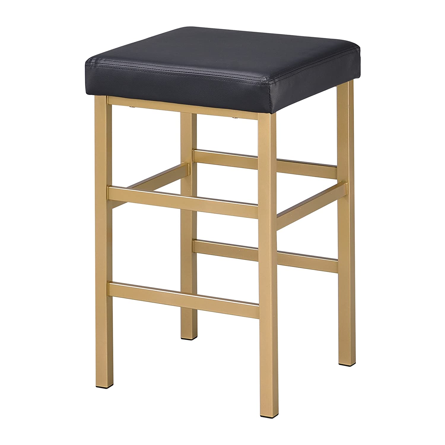 Office Star Backless Stool with Gold Frame, 26-Inch, Black Office Star Products MET1326G-3