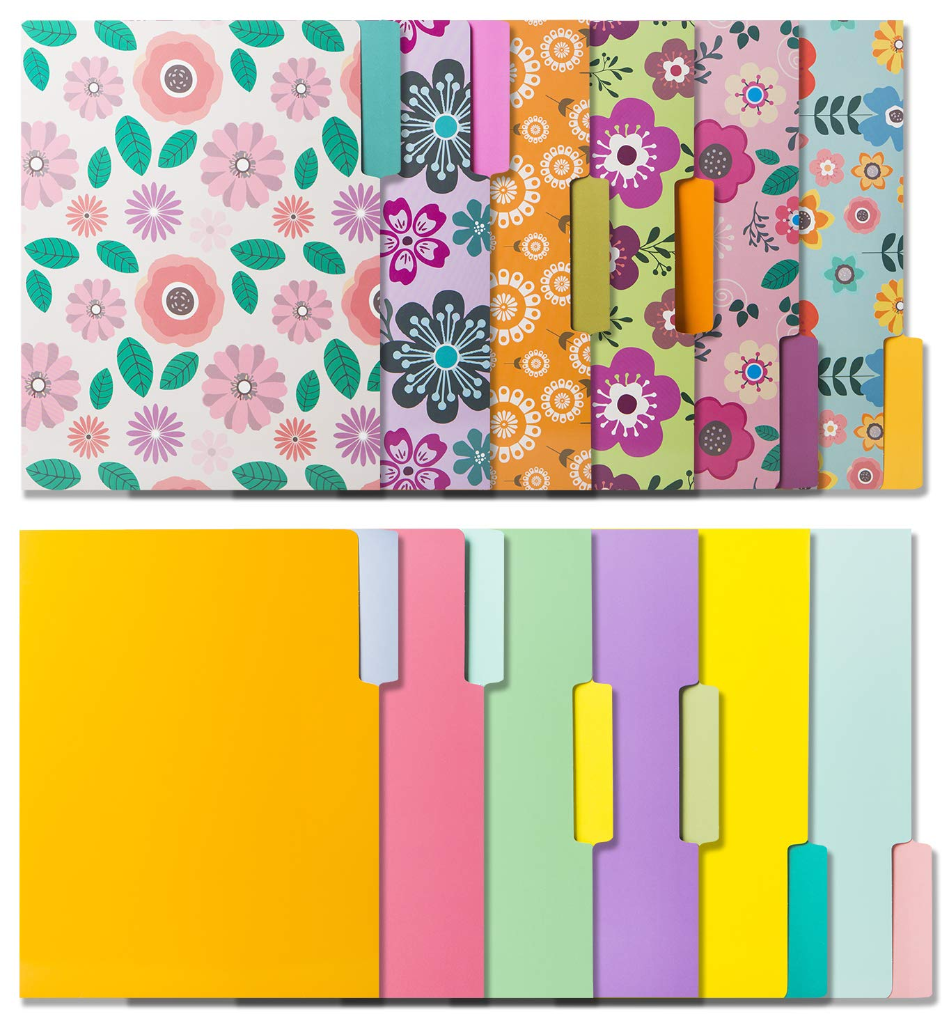Colored File Folders -12 File Folders In Vibrant Colors & Cute Floral Designs -Decorative File Folders -Cute File Folders- Pretty File Folders- Letter Size File Folders -9.5 x 11.5 Inches (Pack of 12)