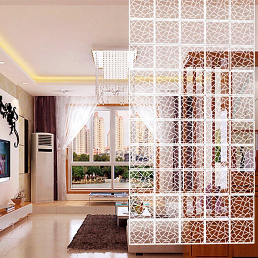 Yizunnu - Juego de 12 paneles separadores de ambientes, madera y plástico, para colgar en la pantalla, plegable, para intimidad, decoración para el hogar, 29 x 29 cm (geometría)