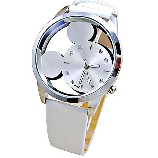 Mickey Mouse hueca de Digital de cuarzo reloj de pulsera de mujer, color blanco
