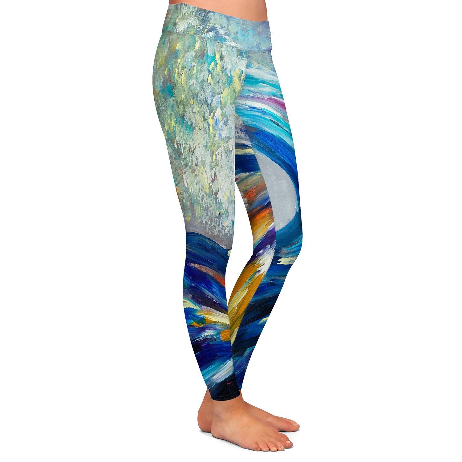Wave Rolling Rainbow Athletic Yoga Leggings from DiaNoche Designs by Artist Lam Fuk Tim