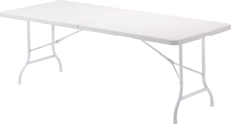 KitGarden - Mesa Plegable Multifuncional, 180x75x74cm, Blanco Imitación Ratán, Lux 180