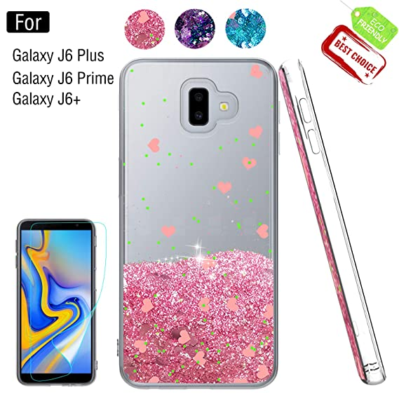 the latest 3bf4e a3d73 Galaxy J6 Plus Glitter Case,Samsung Galaxy J6 Prime Case,Samsung Galaxy J6+  Case with Screen Protector for Girls Women, Luxury Liquid TPU Protective ...