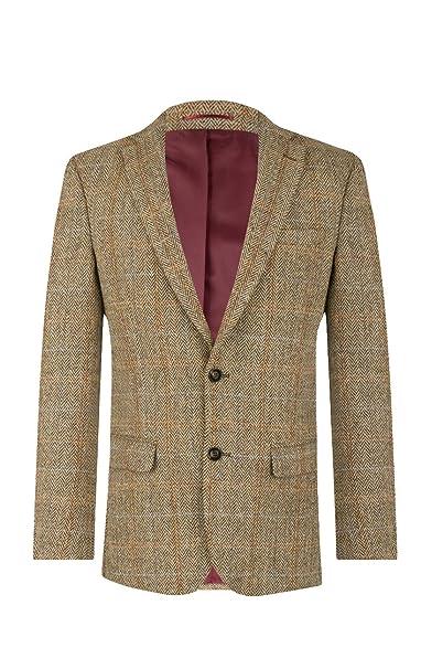 Harris Tweed Mens Brown Suit Jacket Regular Fit 100% Wool