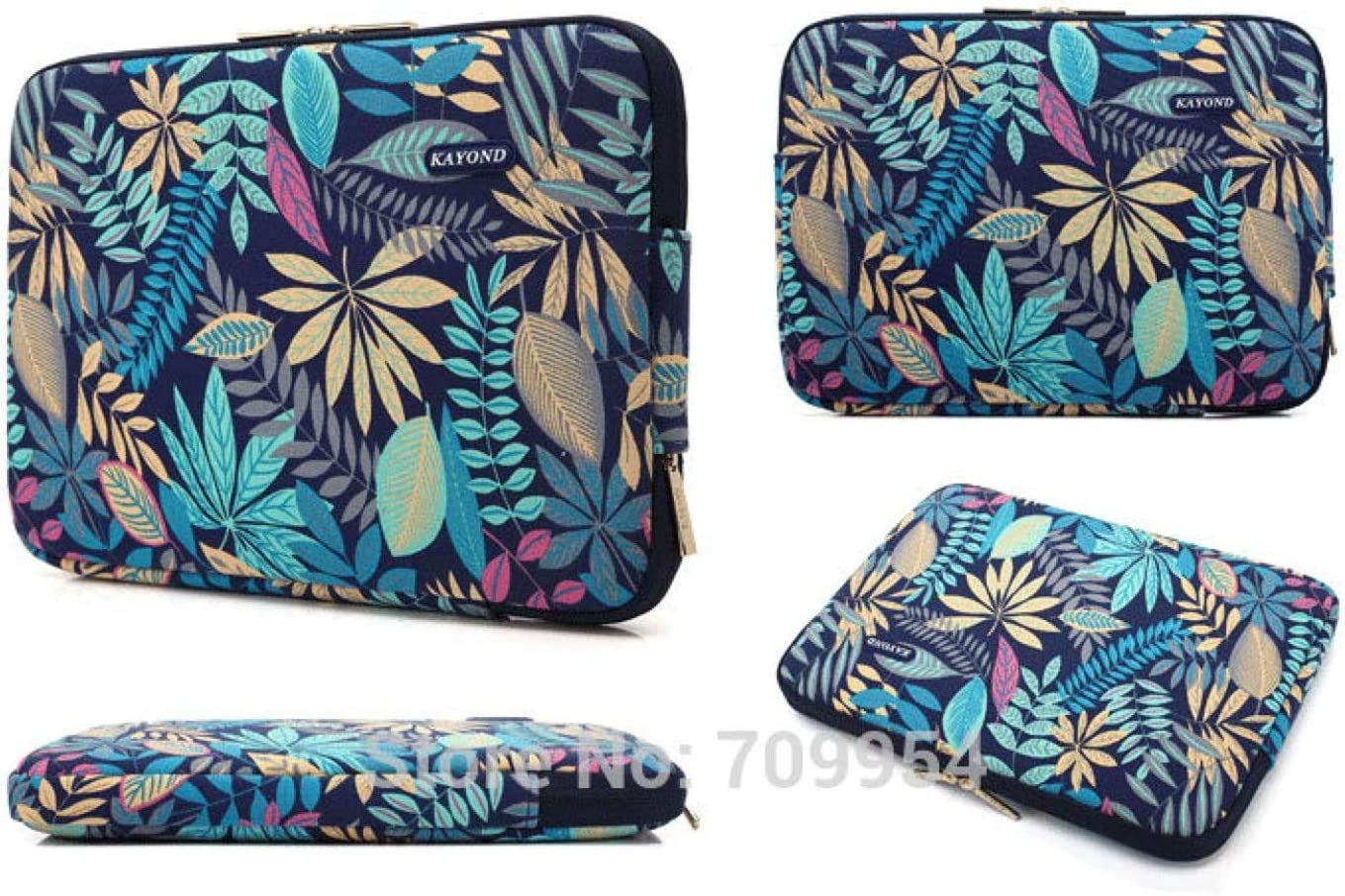 Color : Blue Leaf, Size : 11-inch Lorachun Laptop Bag Case Sleeve Pouch 11 13 13.3 14 15 17 Women Men PC Notebook Cover for MacBook HP Acer Dell Asus 5 Style Can be Choose