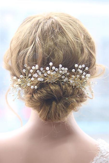 Gracewedding sposa foglia oro cristallo pettine fermacapelli cristallo  sposa capelli accessori per capelli 7e0d9099e0a2