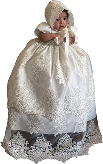 Baby Girls White Lace Christening//Baptism Bonnet Size  0-24 Months