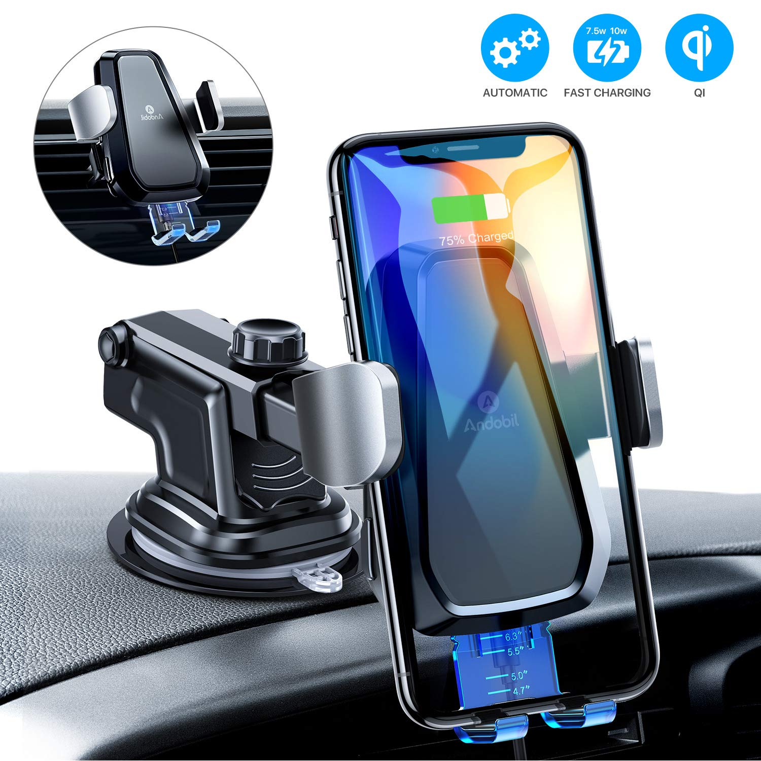 andobil Wireless Car Charger Mount, Auto Clamping Air Vent Dashboard Windshield Phone Holder Compatible iPhone 11/11 Pro/ 11 Pro Max /Xs Max/Xs/XR/X/8+/8, Samsung S10+/S10/S9+/S9/S8+/S8 by andobil