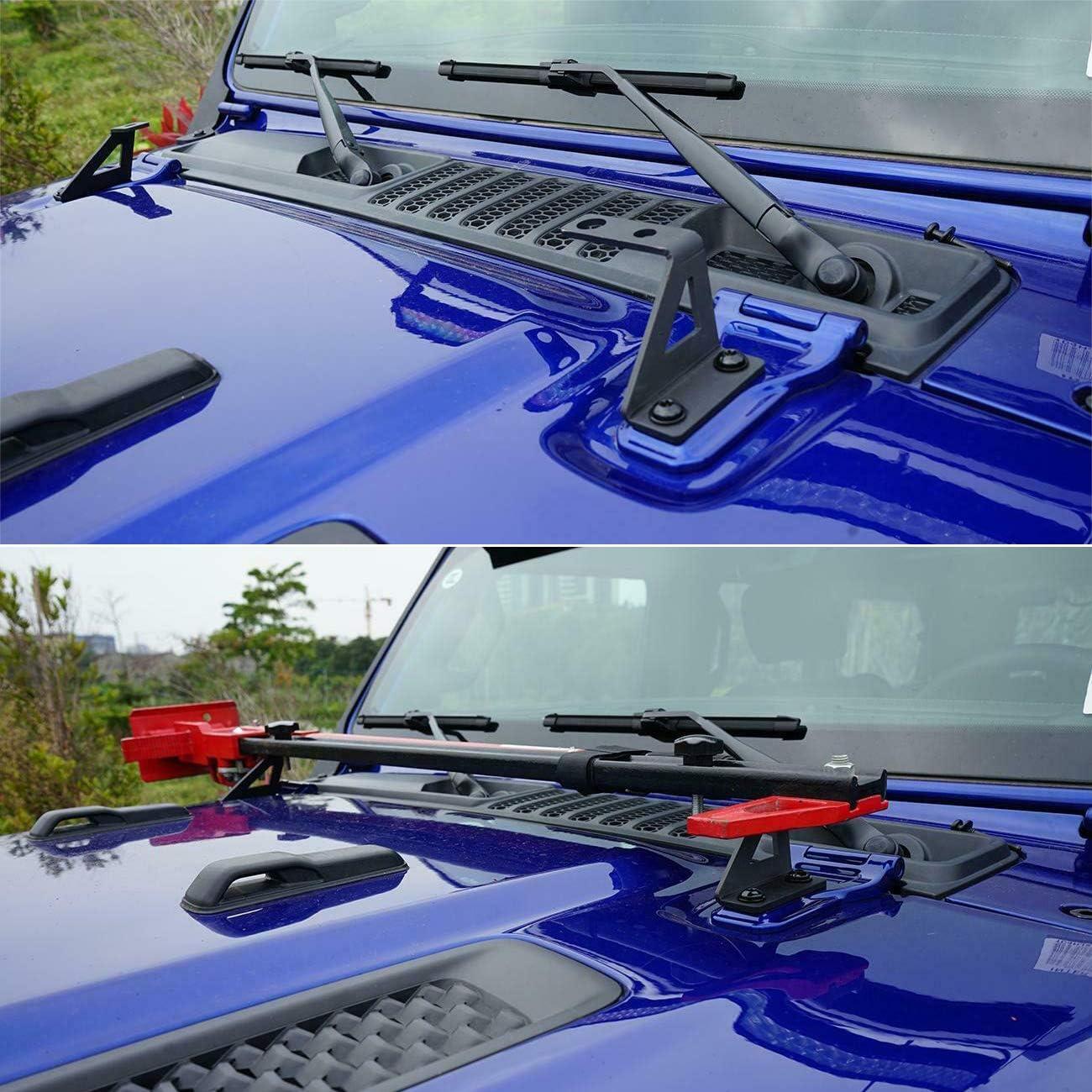 HEQIANG Hi Lift Jack Mount Hood Door Hinge Brackets Kit for Jeep Wrangler JK 2007-2017 JL 2018 2019 2020 Up