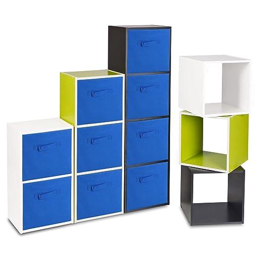 Estantería de madera con cajas de almacenamiento de colores ...