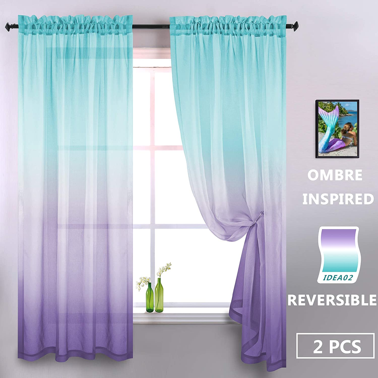 Lilac and Turquoise Curtains for Girls Room Decor Set of 2 Panels Pretty Window Sheer Ombre Patterned Fantasy Curtains for Bedroom Teen Mermaid Wall Decoration Accessories Green and Purple 72 Length