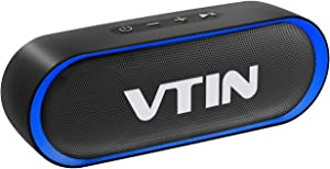 VTIN R4 Portable Bluetooth Speaker 12W,24H Playtime Small Bluetooth Speaker, IPX5 Waterproof Speaker, Built-in Mic, Support TF Card,Bluetooth Speaker 5.0 with Loud Volume& Immersive Sound for Phone/PC