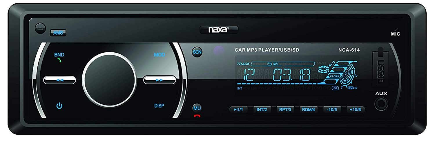 NAXA Electronics NCA-614 in-Dash AM//FM Radio//MP3 Player and Receiver with Bluetooth and Detachable Faceplate Black