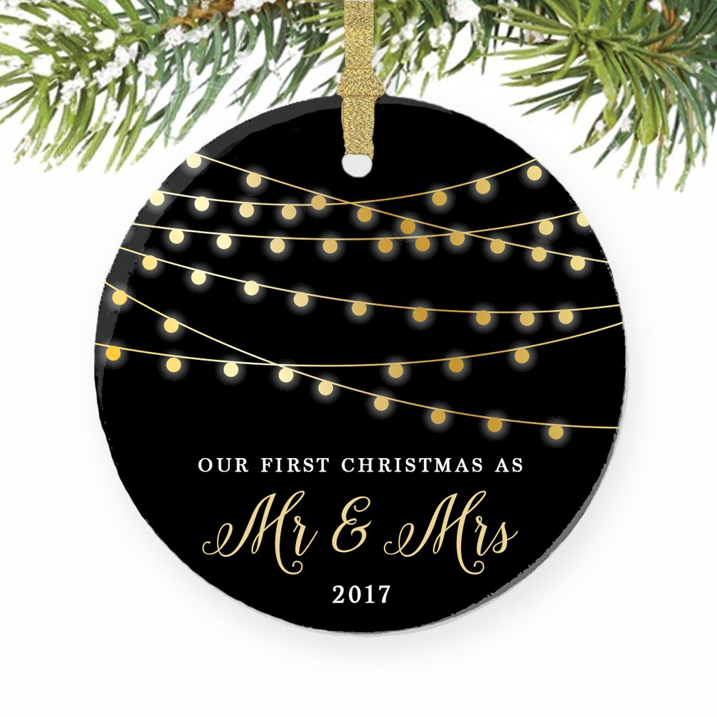 First married christmas ornament - Amazon Com First Christmas As Mr Mrs Ornament 2017 1st Married Christmas Ornament First Married Christmas 3 Flat Circle Porcelain Ornament W Glossy
