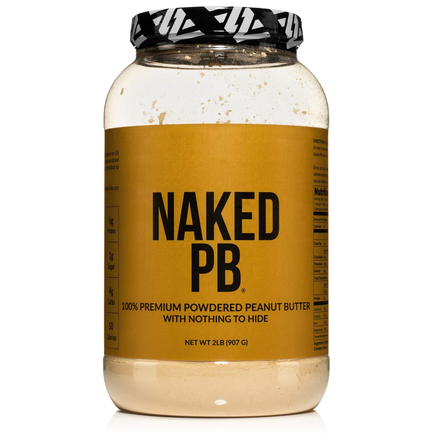2lbs of 100% Premium Powdered Peanut Butter from US Farms – Bulk, Only Roasted Peanuts, Vegan, No Additives, Preservative Free, No Salt, No Sugar - 76 Servings - Naked PB