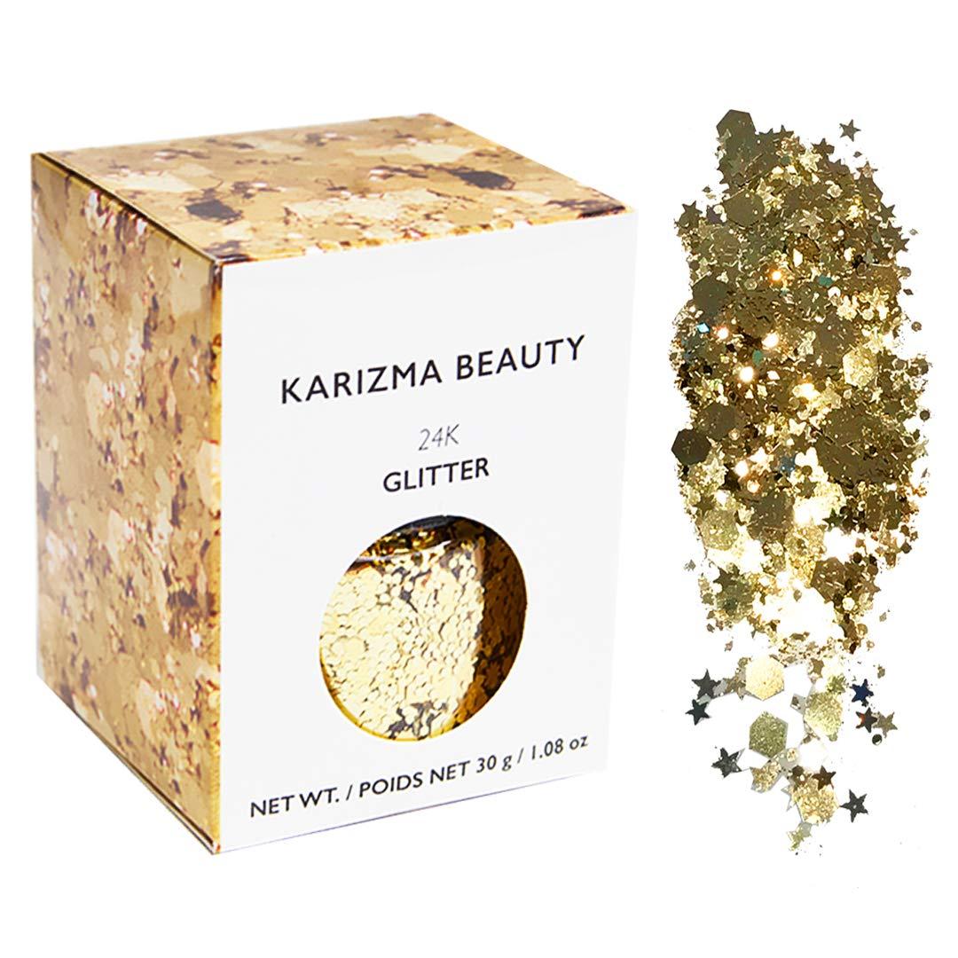 Gold Rockstar Chunky Glitter ✮Large 30g Jar KARIZMA BEAUTY ✮ Festival Glitter Cosmetic Face Body Hair Nails