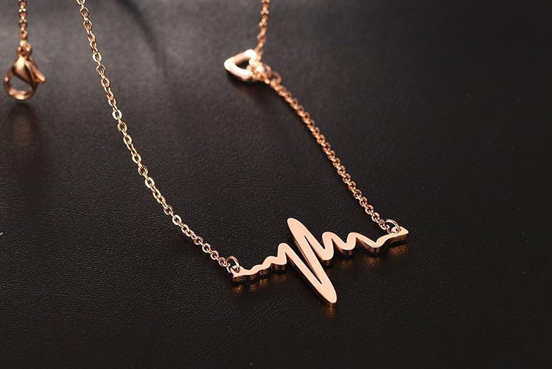 Daesar En Acier Inoxydable Collier De Fr/équence Cardiaque Colliers pour Les Femmes En Or Rose Colliers