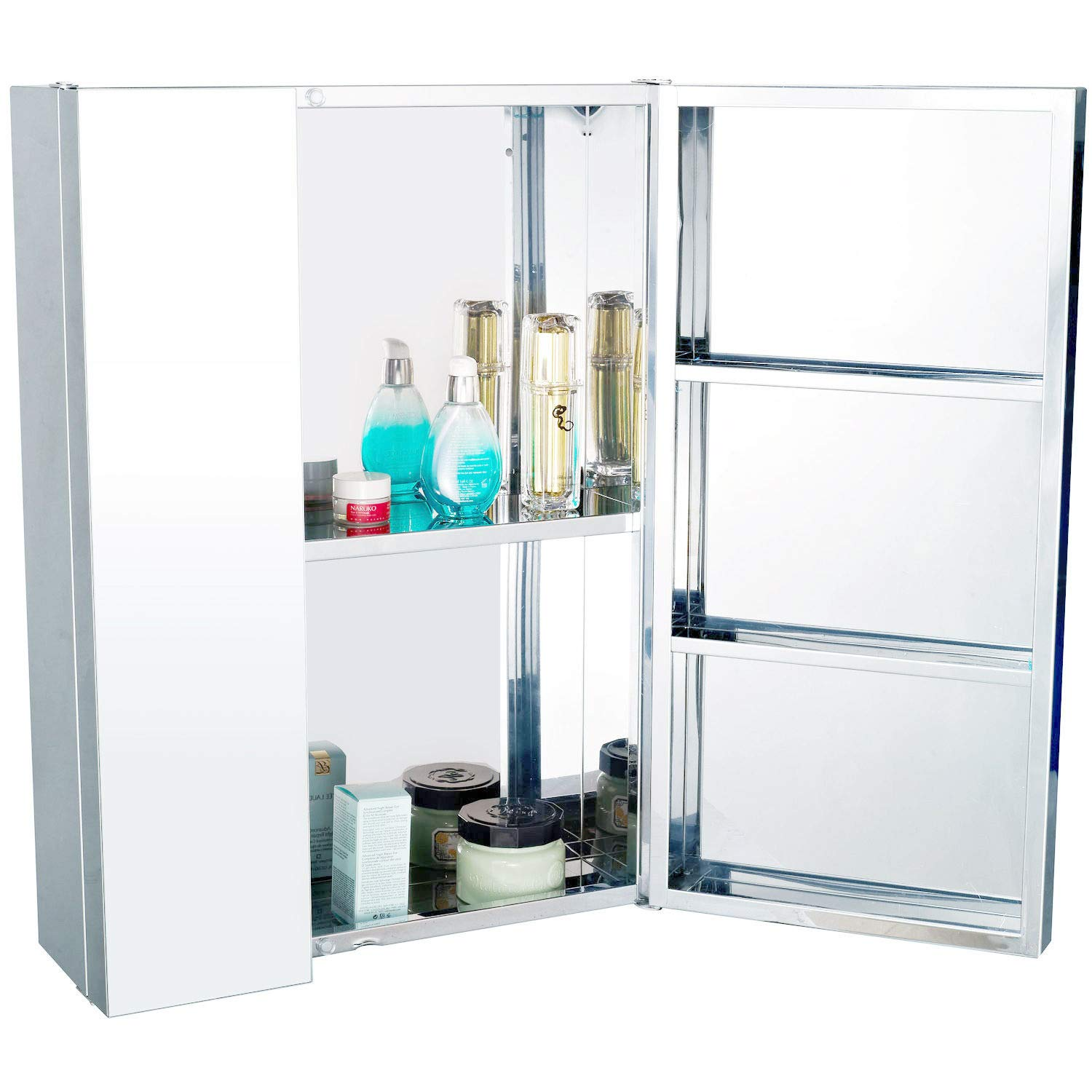 Homcom Stainless Steel Wall mounted Bathroom Mirror Storage Cabinet Double Doors 430mm (W) Sold by MHSTAR