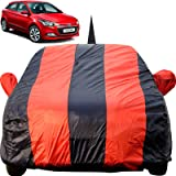 Autofact Car Body Cover for Hyundai Elite I20 with Mirror and Antenna Pocket (Light Weight, Triple Stitched, Heavy Buckle, Bottom Fully Elastic, Red Stripes with Navy Blue Color)