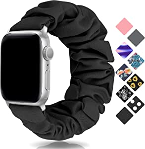 SAMYERLEN Compatible with Scrunchie Apple Watch Band 38mm 40mm 42mm 44mm, Women Cute Soft Elastic Scrunchy Bands Wristbands Bracelet Strap for Iwatch Series 6/5/4/3/2/1/SE (Black-42/44M)