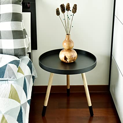 Merveilleux WELLAND Nesting Wooden End Table With Paint Dipped Legs, Modern Round  Coffee Table,