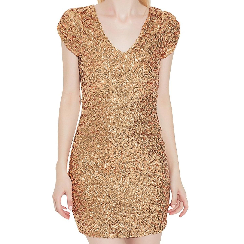 Dasior Women's Sexy Sparkly Glitter Sequin V Neck Bodycon Mini Pencil Party Dress