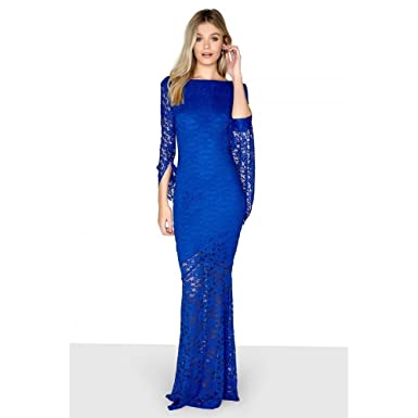 17647785dc84 Little Mistress Womens Ladies Long Sleeve Sheath Maxi Dress (16 UK) (Blue)   Amazon.co.uk  Clothing