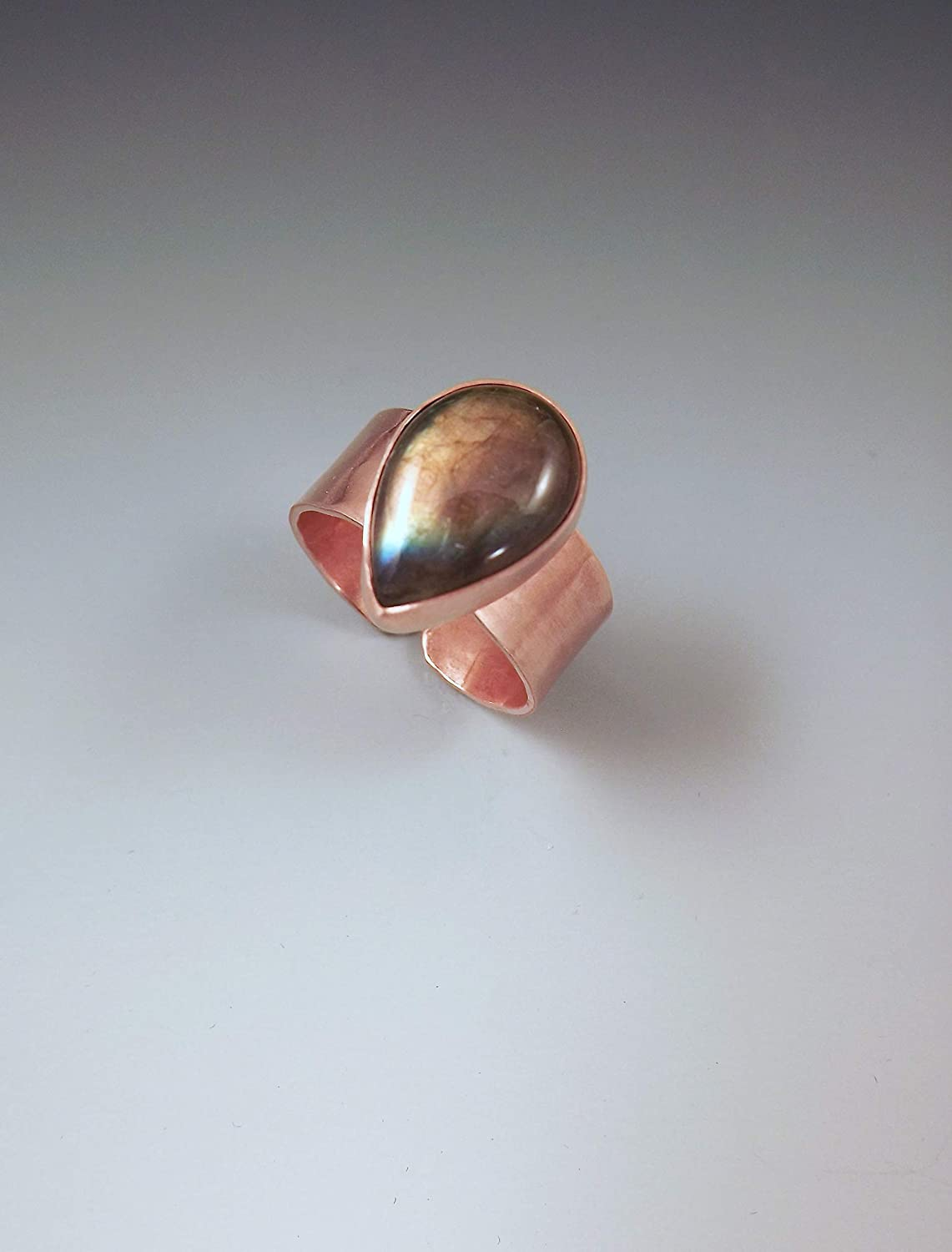 Details about  /Labradorite Teardrop Ring in Copper Ready to Ship