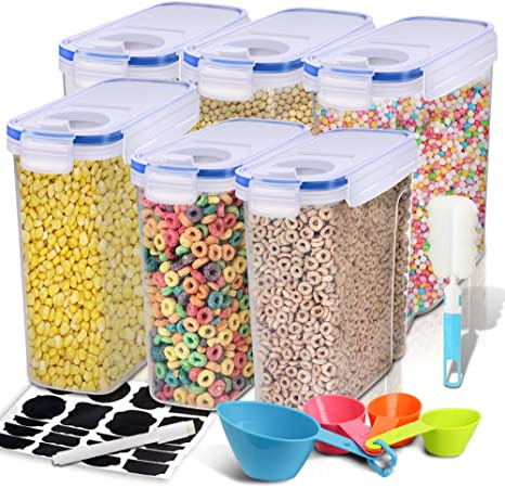 Cereal Container, EAGMAK Airtight Dry Food Storage Containers, BPA Free  Large Kitchen Pantry Storage Container for Flour, Snacks, Nuts & More  (Blue, ...
