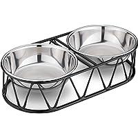 Navaris Set med husdjursskålar i stål – dubbla matskålar för katter, små hundar och valpar med metallstativ – set med 2…
