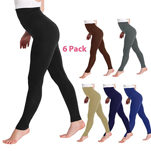 56bab4dc502d21 Image Unavailable. Image not available for. Color: Kuda-Moda 6 Pack High  Waist Fleece Lined Tummy Control Full Length Waist Compression Legging