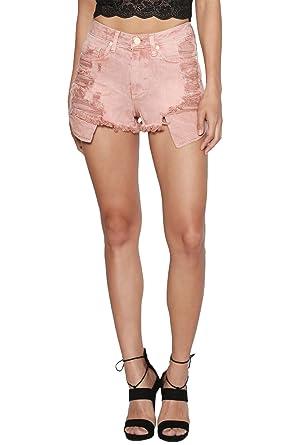 46c9d98f19 TheMogan Women's Distressed Cutoff High Waisted Denim Shorts Dusty Pink XS