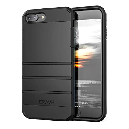 brand new 4124b fa6df iPhone 8 Plus Case, iPhone 7 Plus Case, Crave Strong Guard Protection  Series Case for Apple iPhone 8/7 Plus (5.5 Inch) - Black