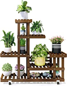 APUNOL Wood Plant Stand Indoor Outdoor 5 Tier Flower Pot Stand Multiple Shelves Plant Display Rack Holder for Patio Garden, Living Room, Corner Balcony and Bedroom