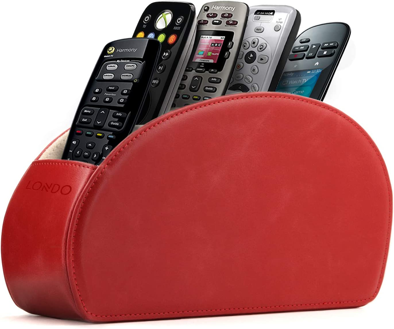Londo - Leather Remote Control Holder Organizer with Suede Lining for DVD Blu-ray TV Roku or Apple TV Remotes (Leather, Red)