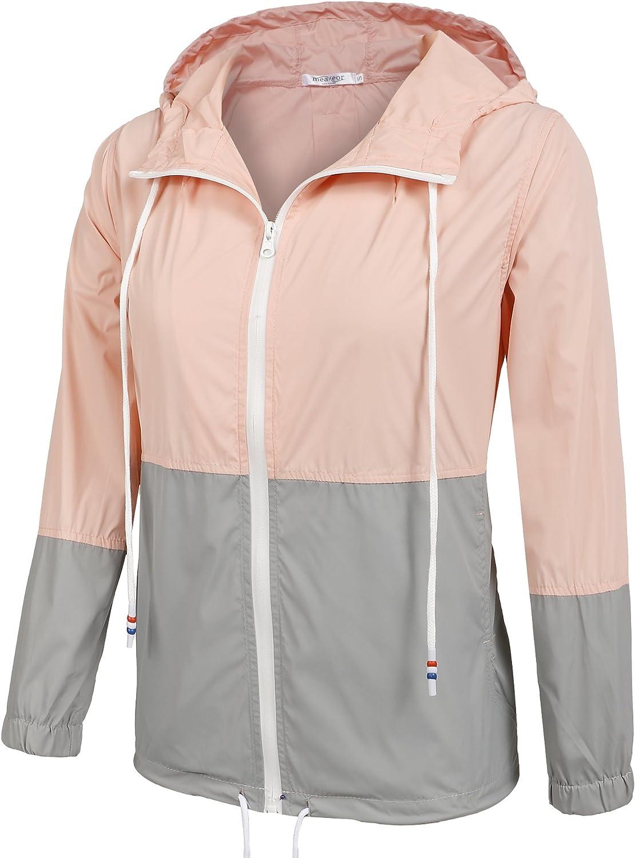 Meaneor Womens Lightweight Outdoor Hooded Waterproof Windbreaker Rain Jacket