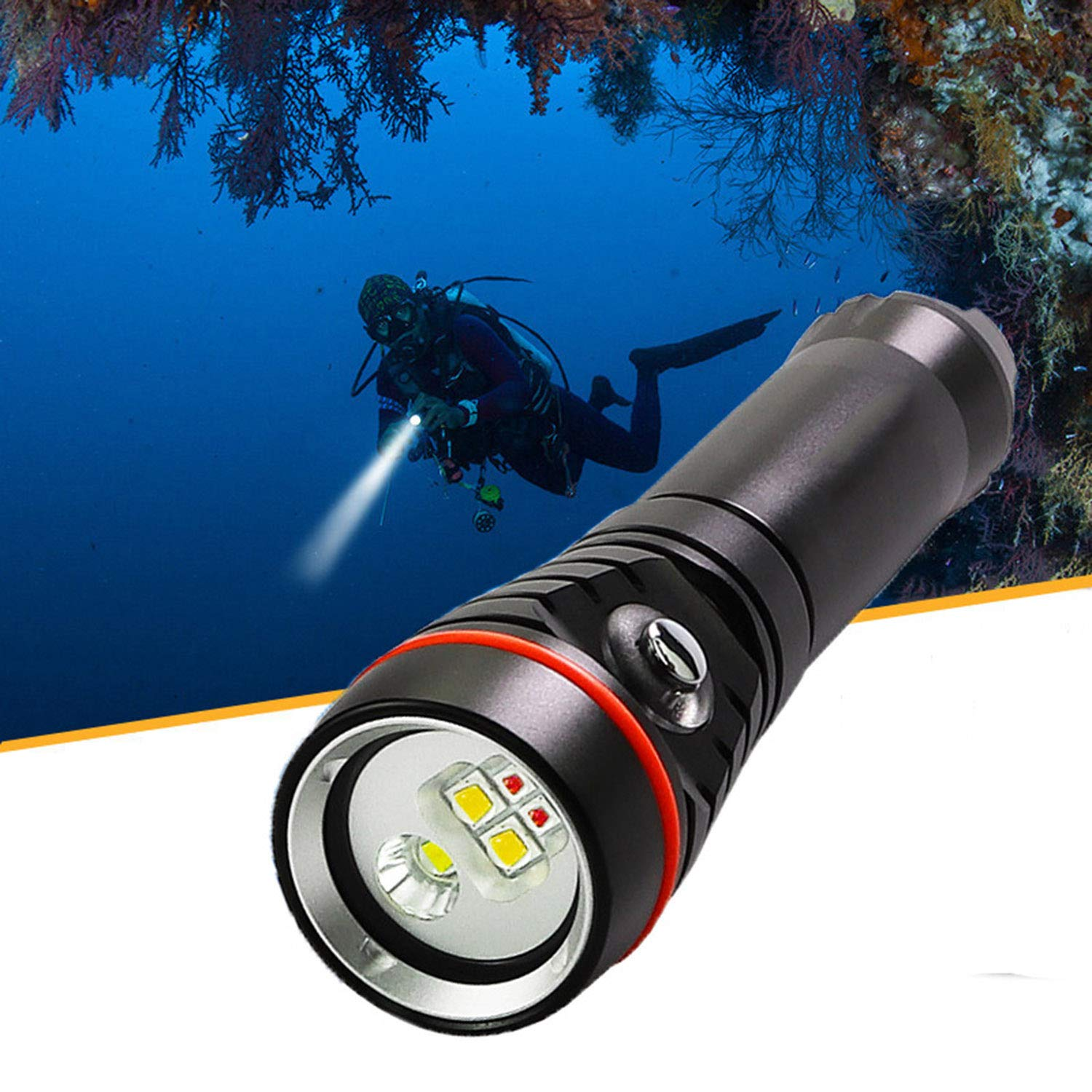 WSXX Diving Flashlight, Photography Fill Light, Underwater Lighting Glare, Wide-Angle LED, IPX-8 Waterproof, Diving Underwater 100M by WSXX