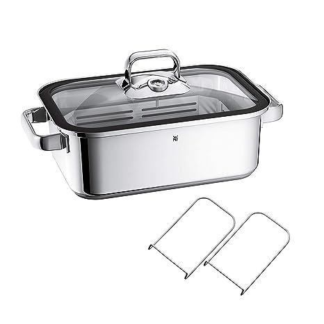 WMF Vitalis Fuente rectangular de cocción al vapor con Rejilla, acero inoxidable pulido, 3.5 L