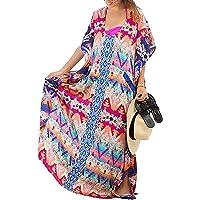 Copricostume Mare Donna Vestito Lungo Estate Boho Hippie Kaftan Tunica Etnica Kimono Abito da Spiaggia per Costumi da Bagno Stampato Bikini Cover Up Swimsuit Beachwear Allentato per Taglia S-XL