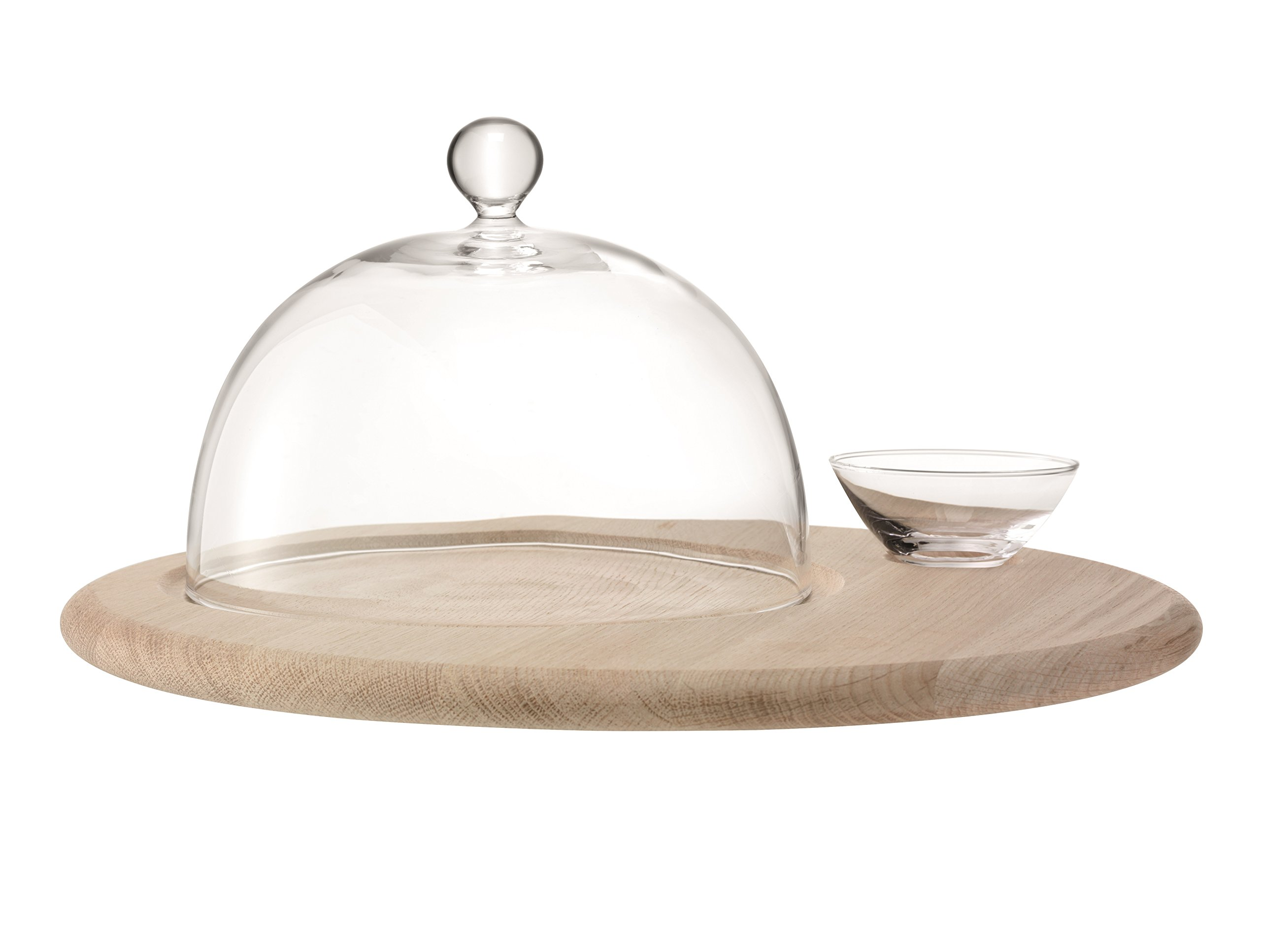 LSA International Serve Cheese Set & Oak Base, 15.75'', Clear