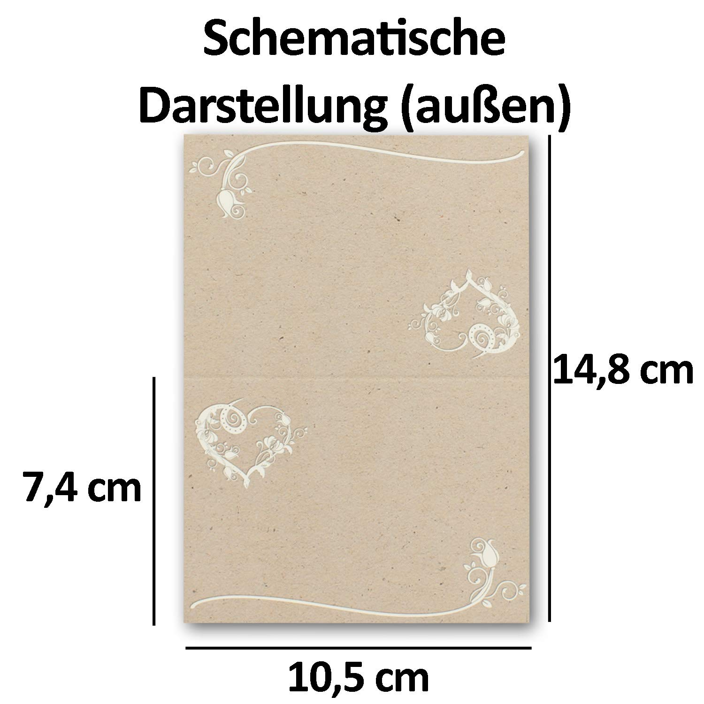 200 Vintage Tisch-Karten Kraftpapier Kraftpapier Kraftpapier mit Herz DIN A7 - Falt-Karten 7,4 x 10,5 cm bedruckbar - Namens-Kärtchen - Tischdeko - von Ihrem Glüxx-Agent B07GS5FXVW | Optimaler Preis  fcee79