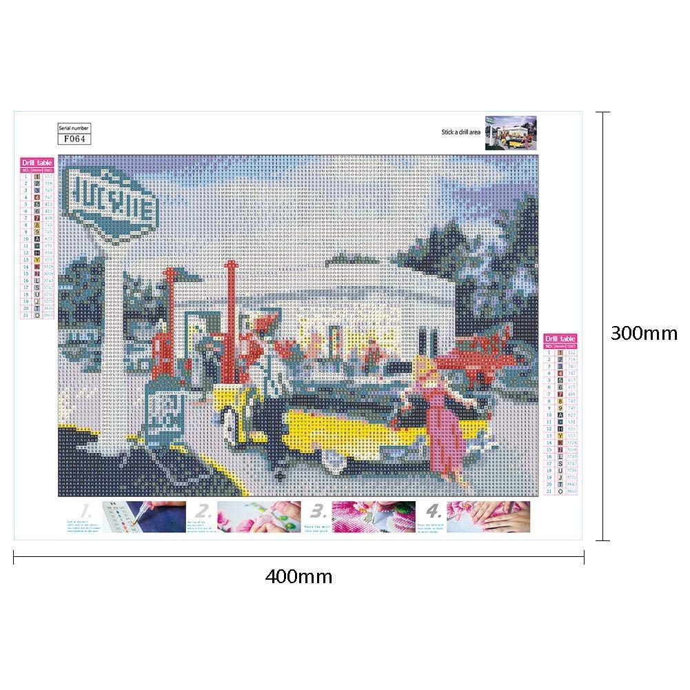 Auto-Kreuzstich-Stickerei 5D DIY Vollbohrer-Quadrat-Diamant-Malerei-Retro
