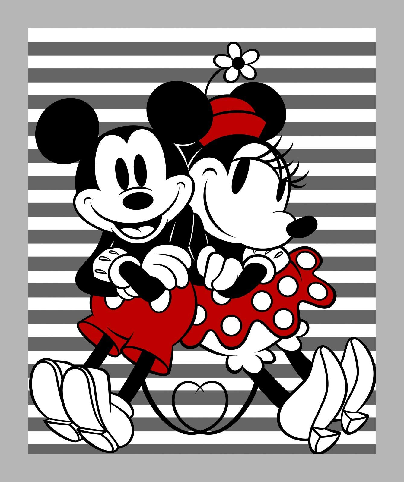 """Disney Mickey and Minnie Striped 35"""" Panel 100% Cotton Sold by The Panel."""