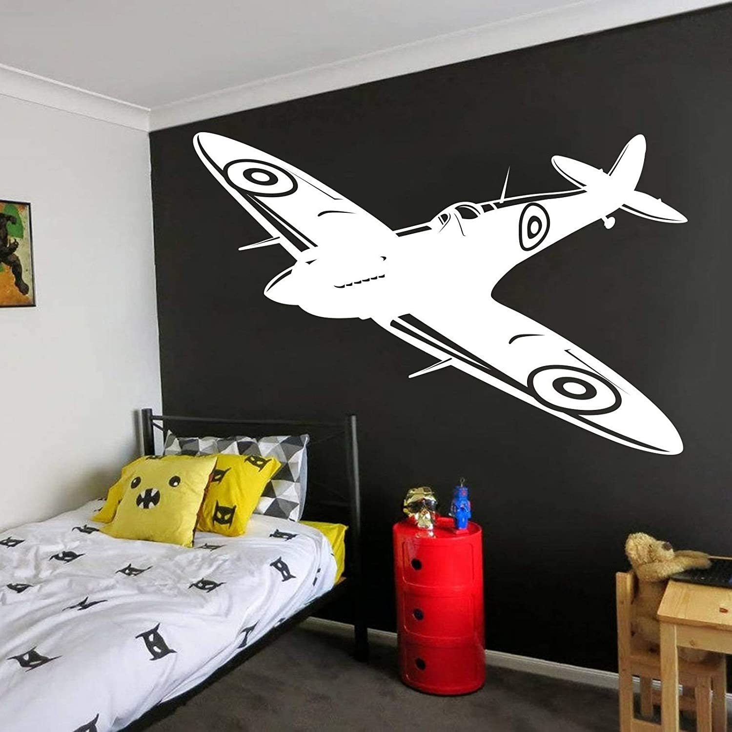 Andre Shop Spitfire Wall Decals British Fighter Ww2 Decals Jet Aircraft Plane Airplane Military Wall Sticker Vinyl Boy Room Decor Custom Color Home Kitchen