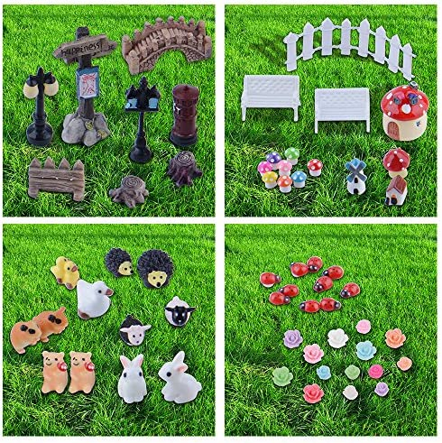 Zealor 100 Pieces Miniature Ornaments Kit for DIY Fairy Garden Dollhouse Decoration
