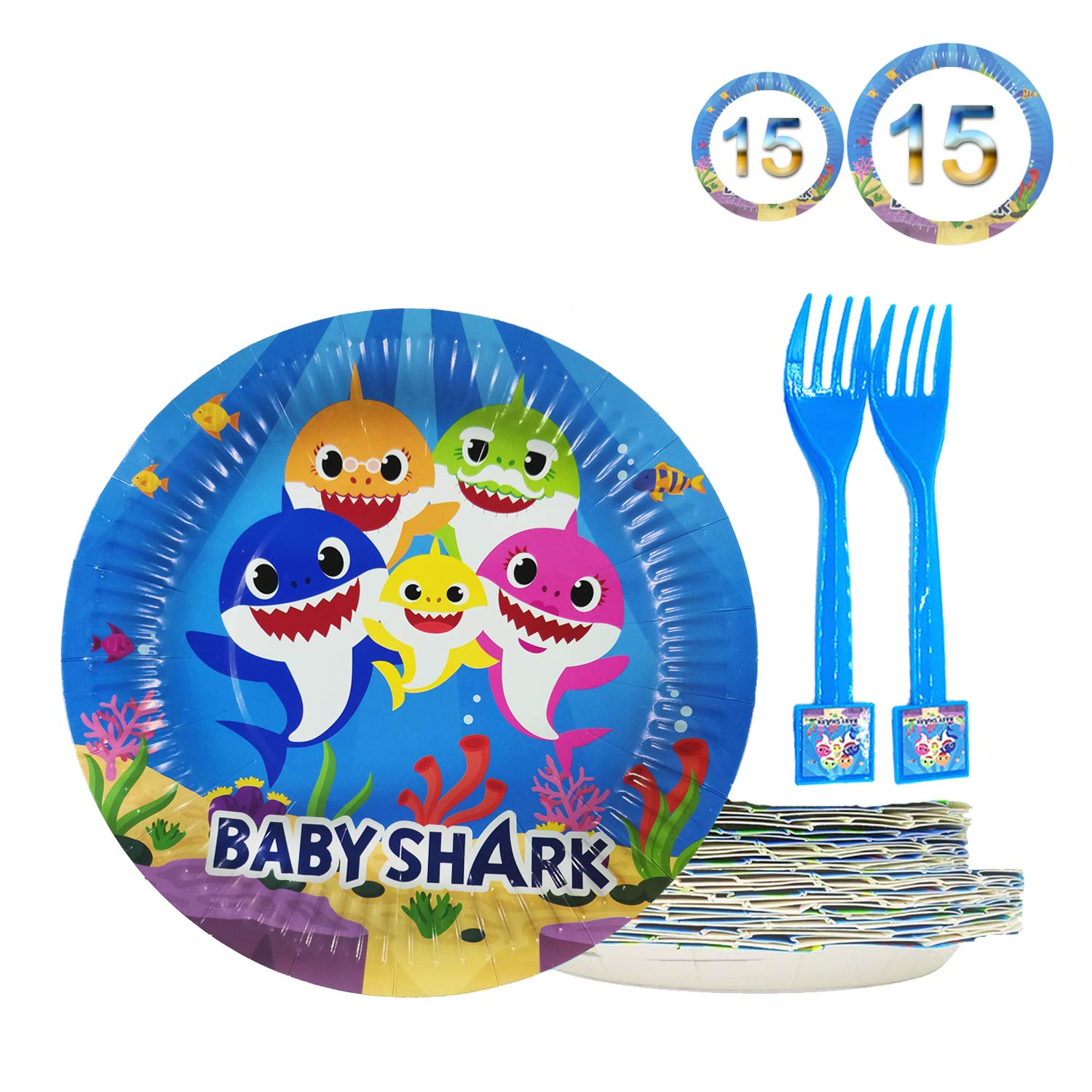 45 Baby Cute Shark Party Dessert Set, Birthday Party Plates, 15pcs 9 Inch + 15pcs 7 Inch Cake paper Plates, 15 pcs shark forks - Birthady Party Supplies for Shark Party Tableware Doo Doo Decorations